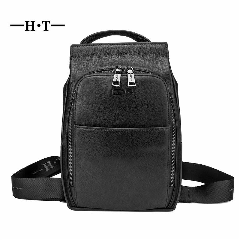 f2cb2f7cb087 HT из натуральной кожи Сумки Для мужчин Crossbody сумки мужской черный  Элитный бренд Курьерские сумки груди