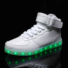 Led light shoes women 2017 women shoes casual fashion High-top colorful led shoes