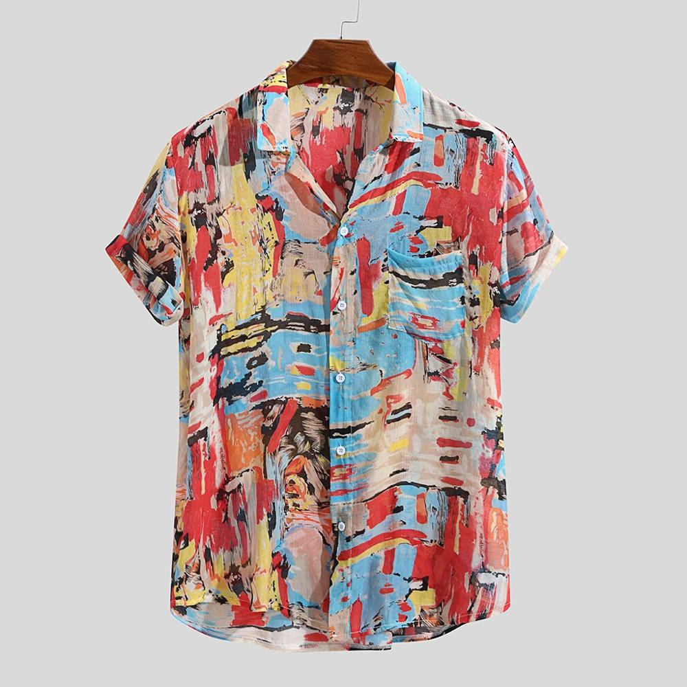 Fashion Unique Style Mens Summer Cotton Linen Printed Stand Collar Shirts