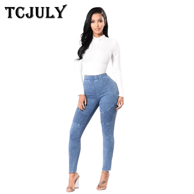 TCJULY High Street Corrugated Ladies Jeans Trousers Skinny Push Up Cowboys Woman Big Size Slim Stretch Casual Denim Pencil Pants