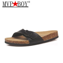 купить Mvp Boy 2018 Summer Cork Slipper Sandals Men Casual Beach Mixed Color Flip Flops Slides Shoe Flat Plus Size 35-43 black brown по цене 963.57 рублей