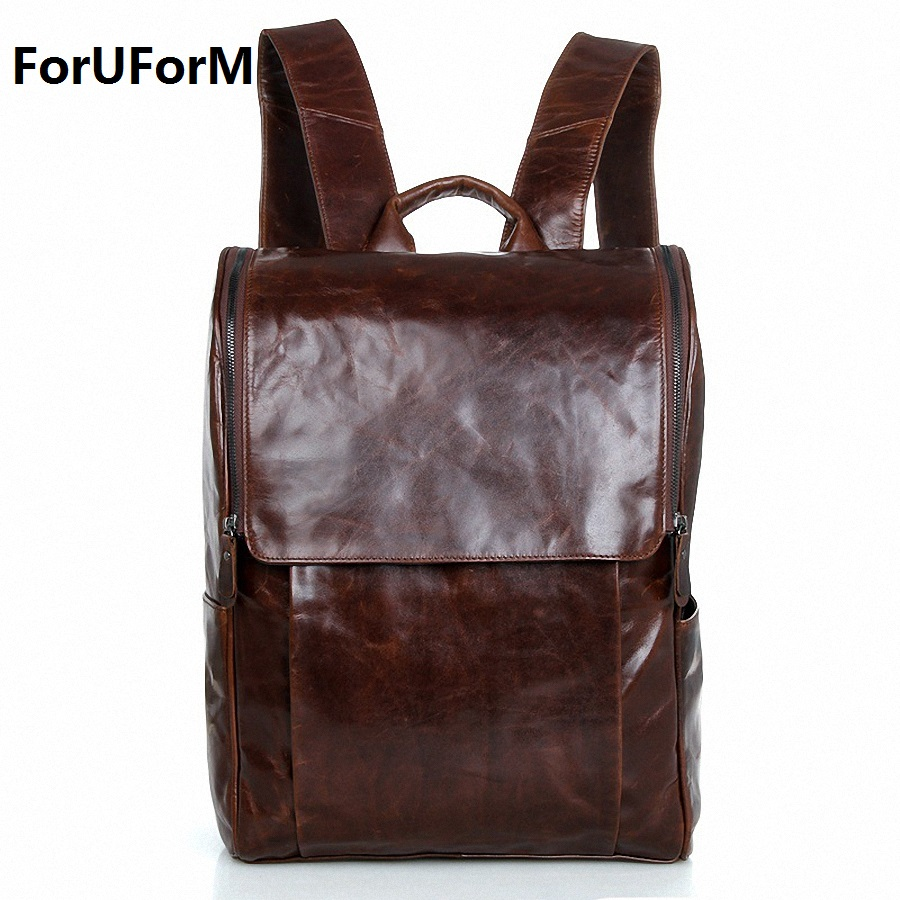 Men genuine Leather Backpacks Men's Fashion 15.6 inch Backpack & Travel Bags Western College Style Bags Mochila Feminina LI-1368 retrospect of western travel
