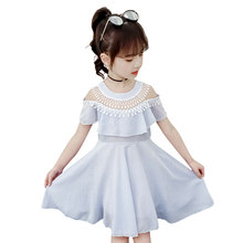 New Summer School Girs Dress with Fringe Collar Princess Party Wedding Dresses for Girls 3 - 12 Year Olds Kids Striped Clothing