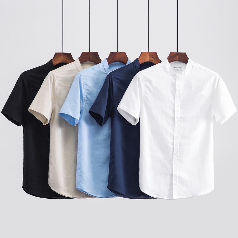 2019 Men Fashion Summer Stand Collar Japan Style Thin Cotton Linen Short Sleeve Solid Shirt Male Casual Shirts Plus Size 110Kg