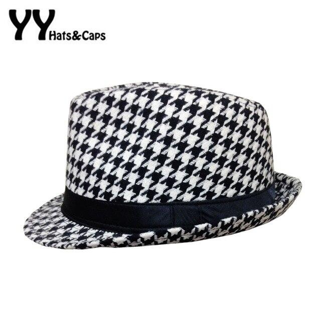 Retro Houndstooth Check Fedora For Women Felt Hats Feminino Cappelli  Sombreros Chapeus Vintage Panama Caps e6e945efe60