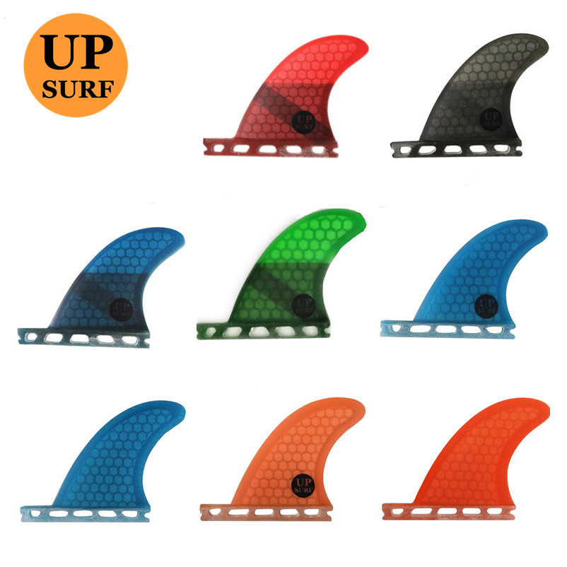 Surf Fins Future GL Rear Fins Quad Set Rear Fins Surf Honeycomb Fiberglass Orange/blue Color Surf Fins 2pcs