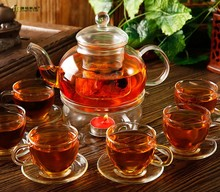14pcs/set teapot Set 6pcs Cups 6pcs saucers 1pc 600ml Heat-resistant Glass Teapot 1pc warmer Drinkware Set Hot Sale JO 1051-2