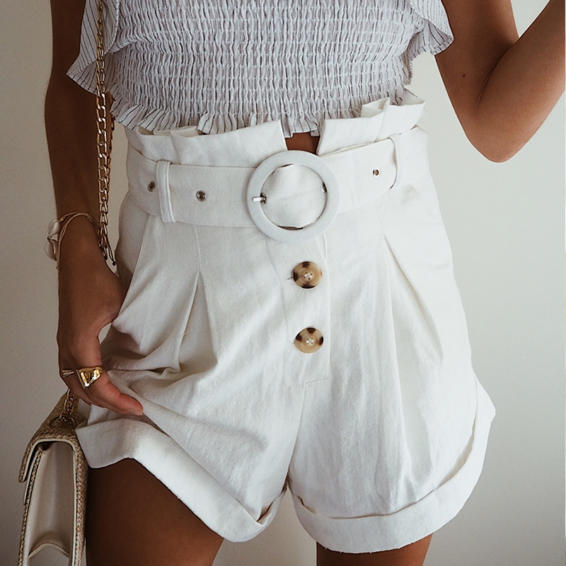 Conmoto Ruffle High Waist Pockets Women Cotton   Shorts   Solid White Button Female   Shorts   Belt Tie Casual Summer 2019   Shorts