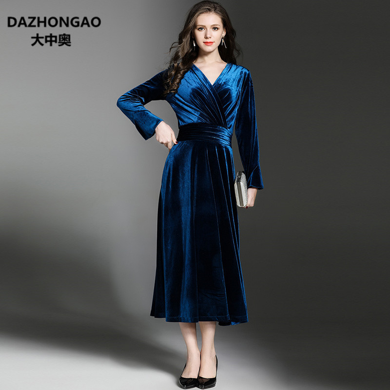 Élégant Vintage Sexy Velours à manches longues robe femmes hiver mode cheville-longueur porter Empire nuit robes Velours Slim H12-3237