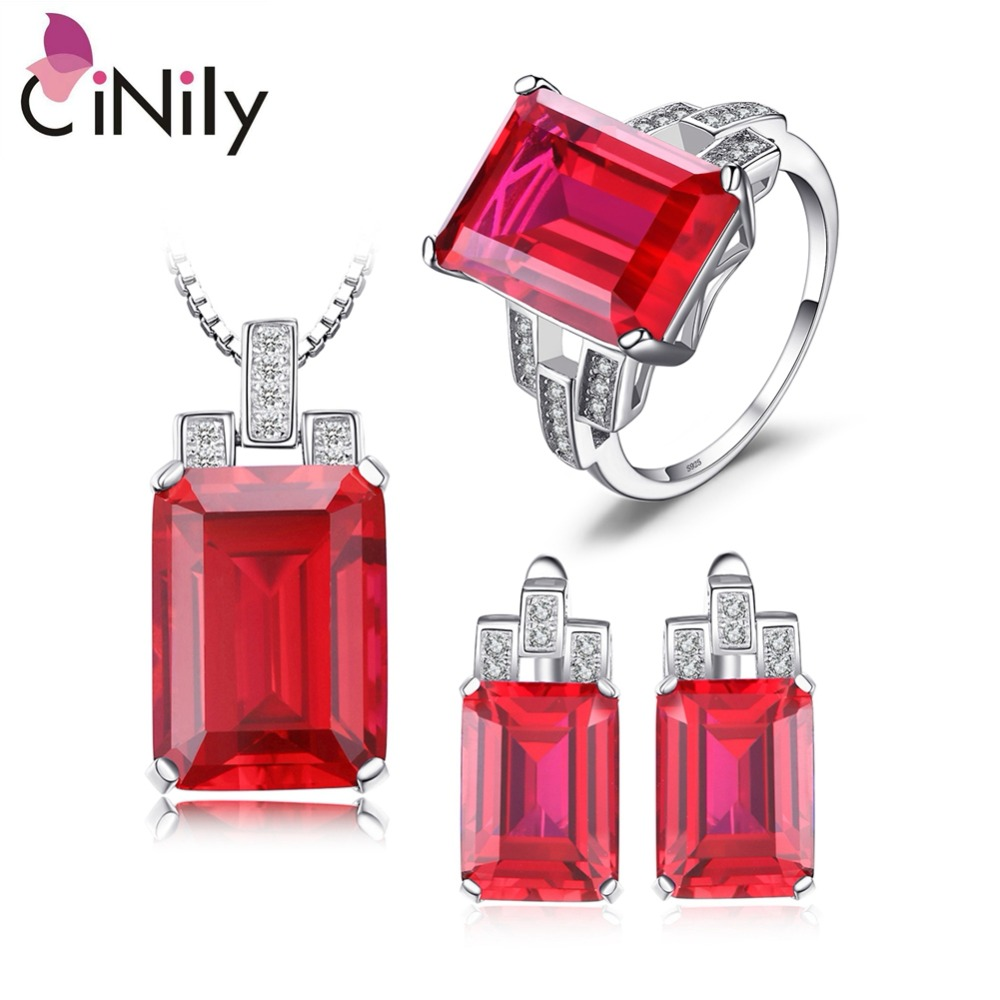 CiNily 925 Sterling Silver Created Red Ruby Emerald Sapphire for Women Jewelry Pendant Earrings Ring Sz 6-9 Jewelry Set ST001-03
