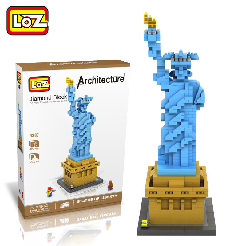 LOZ World Famous Architecture Statue Of Liberty Diamond Building Blocks 3D DIY Learning Educational Model Toys For Children cubicfun 3d puzzle paper building model assemble gift diy baby toy the hall of supreme harmony world s great architecture mc127h