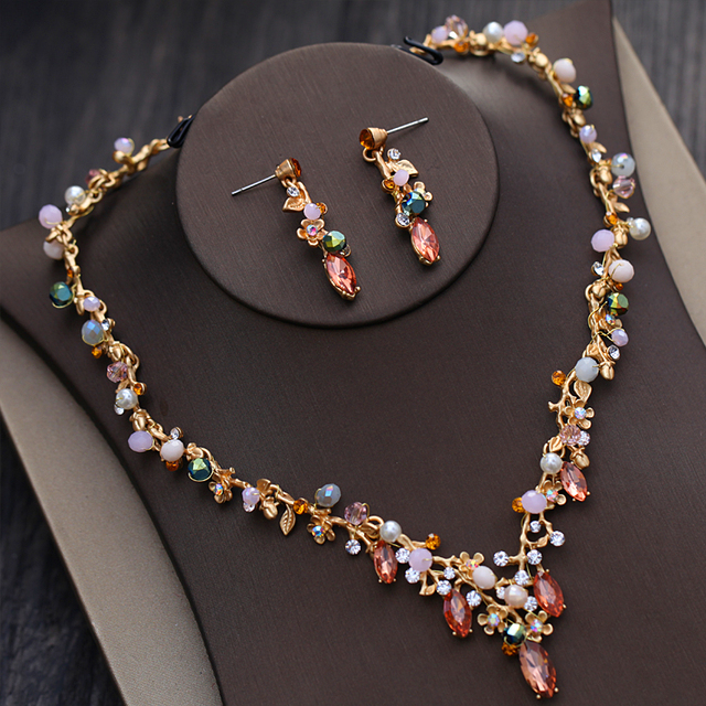 Dower me Colorful Bridal Gold Necklace Earrings Women Prom Jewelry