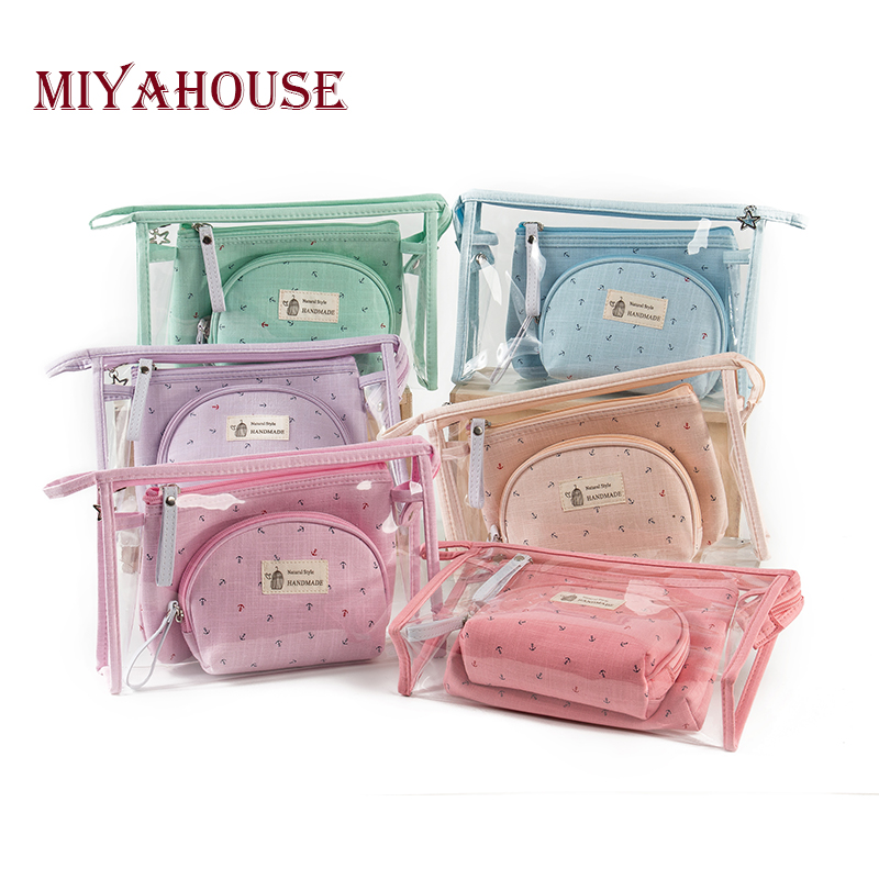Miyahouse PVC Ladies Toiletry Bag 3pcs/set Travel Pouch Anchor Printed Women Makeup Bags Waterproof Portable Female Cosmetic Bag