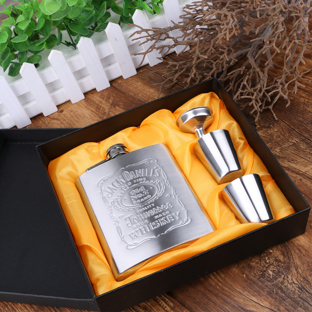 7oz Luxury Stainless Steel Alcohol Hip Flasks Set Whiskey Wine Bottle Flagon Travel Alcohol Whisky Pocket Hip Flask Set