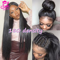 180% Плотность Бразильский Виргинский Волосы Прямые Кружева Перед Парики Для черные Женщины Glueless Человеческих Волос Полные Парики Шнурка Для Черный женщины