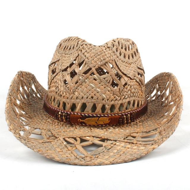 Mulheres Homens Chapéu De Cowboy da Palha Natural Artesanal Tecer Ocidental  Cowgirl Chapéus Para Senhora Cavalheiro 10338028bb1