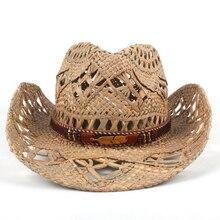 Mujeres Hombres naturales Sombrero vaquero de paja hecha a mano vaquera  sombreros para la señora del verano Caballero occidental. a116750da12