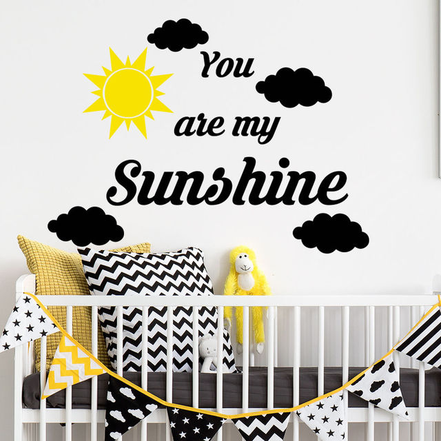 You Are My Sunshine Quotes Wall Decal Cloud Decal Vinyl Removable Letters  Baby Nursery Art Design