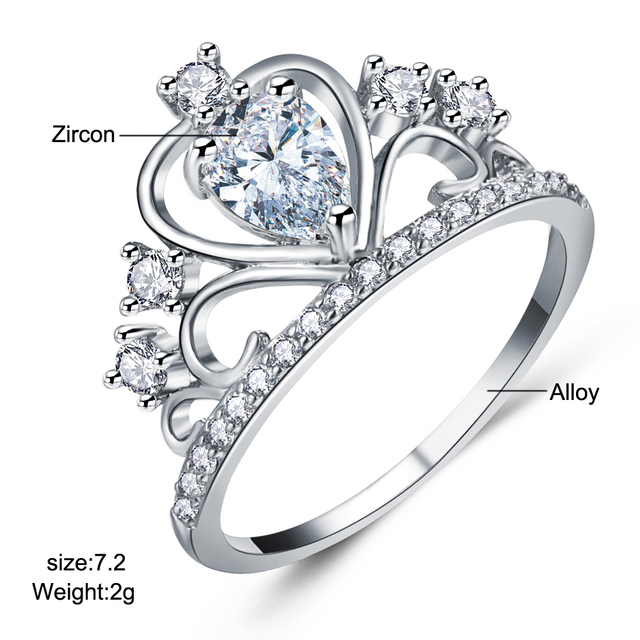 IF ME Fashion Princess Queen Crown Engagement Rings with Clear CZ Cubic Zirconia Crystal Rings Rose Gold Color Wedding Rings