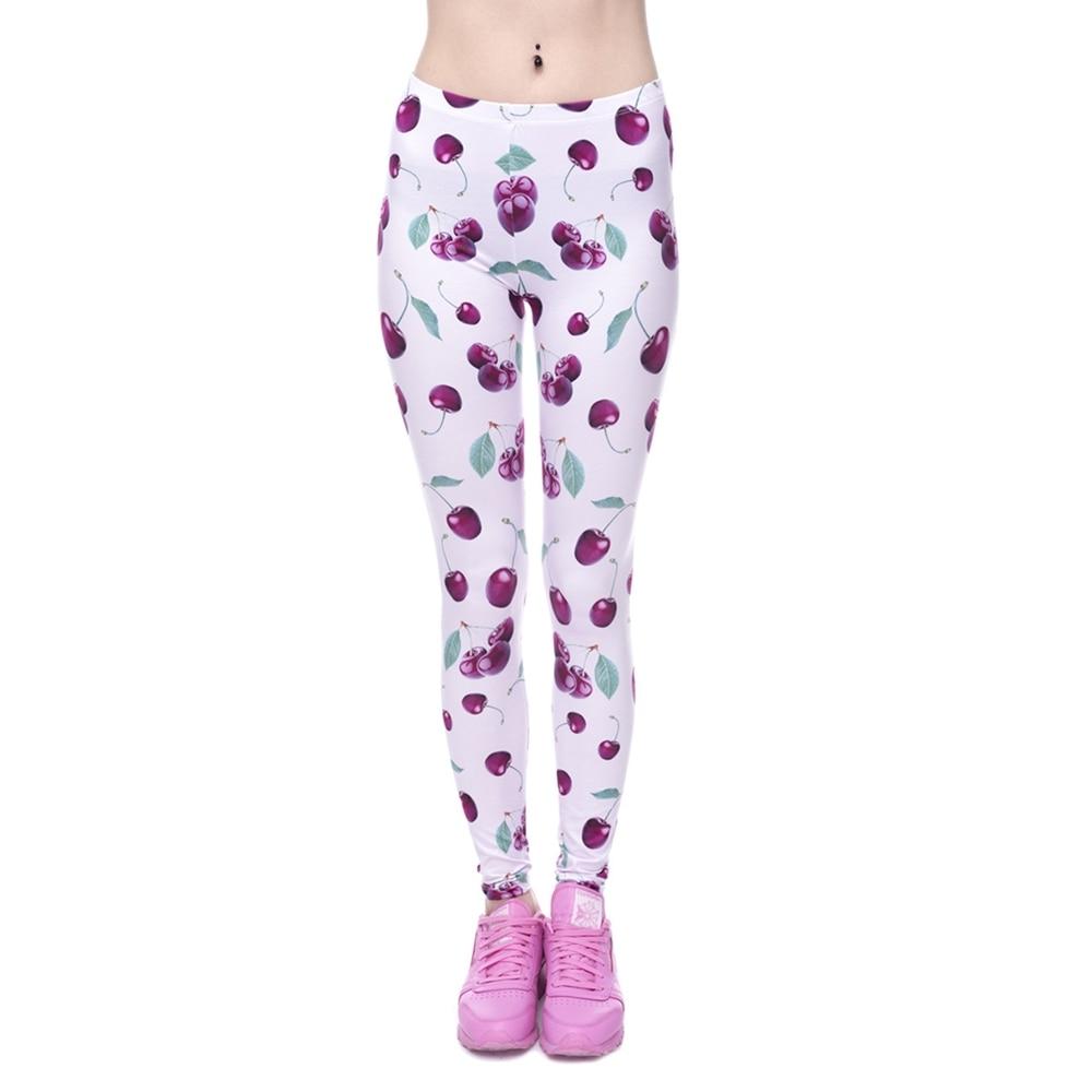 Fashion Leggings Women 3D Print Cherry Pink Slim Jeggings -7421