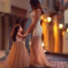 Dubai Luxus 2 Stücke Echt Sexy Meerjungfrau Liebsten Perlen Eltern Monther Kind Abendkleider 2016 Mit Perlen Prom Kleider TE97