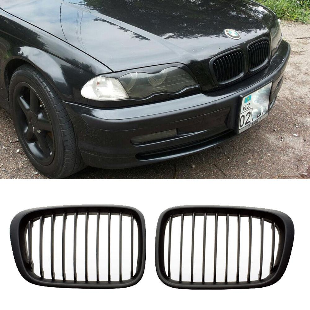 E46 1998-2001 MATTE BLACK GRILL GRILLES For BMW 4 DOOR 320i 323i 325i 328i 330i for bmw e36 318i 323i 325i 328i m3 carbon fiber headlight eyebrows eyelids 1992 1998