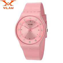 Watch Womens VILAM brand Fashion Casual Soft Silicone Quartz Watch Wristwatches for Women Ladies Lovers Diamond Crystal watches