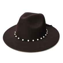 LUCKYLIANJI Retro Women Men Vintage 100 Wool Wide Brim Cap Fedora Panama Jazz Bowler Hat Rope