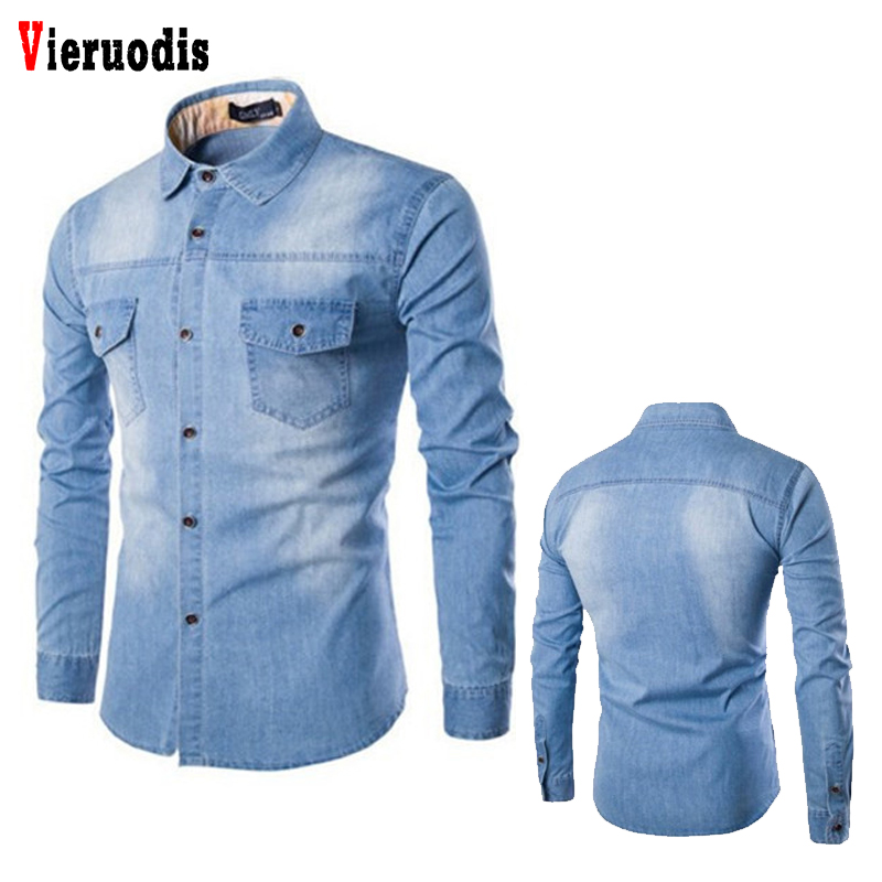 Casual Fashion Two-pocket Tops Clothing Slim Fit Long Sleeve <font><b>Shirts</b></font> 2019 New Denim <font><b>Shirt</b></font> <font><b>Men</b></font> Plus Size <font><b>6XL</b></font> Cotton Jeans Cardigan image
