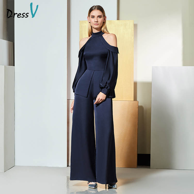 Dressv Navy Elegant Long Sleeve Evening Dress Women Jumpsuits Flare
