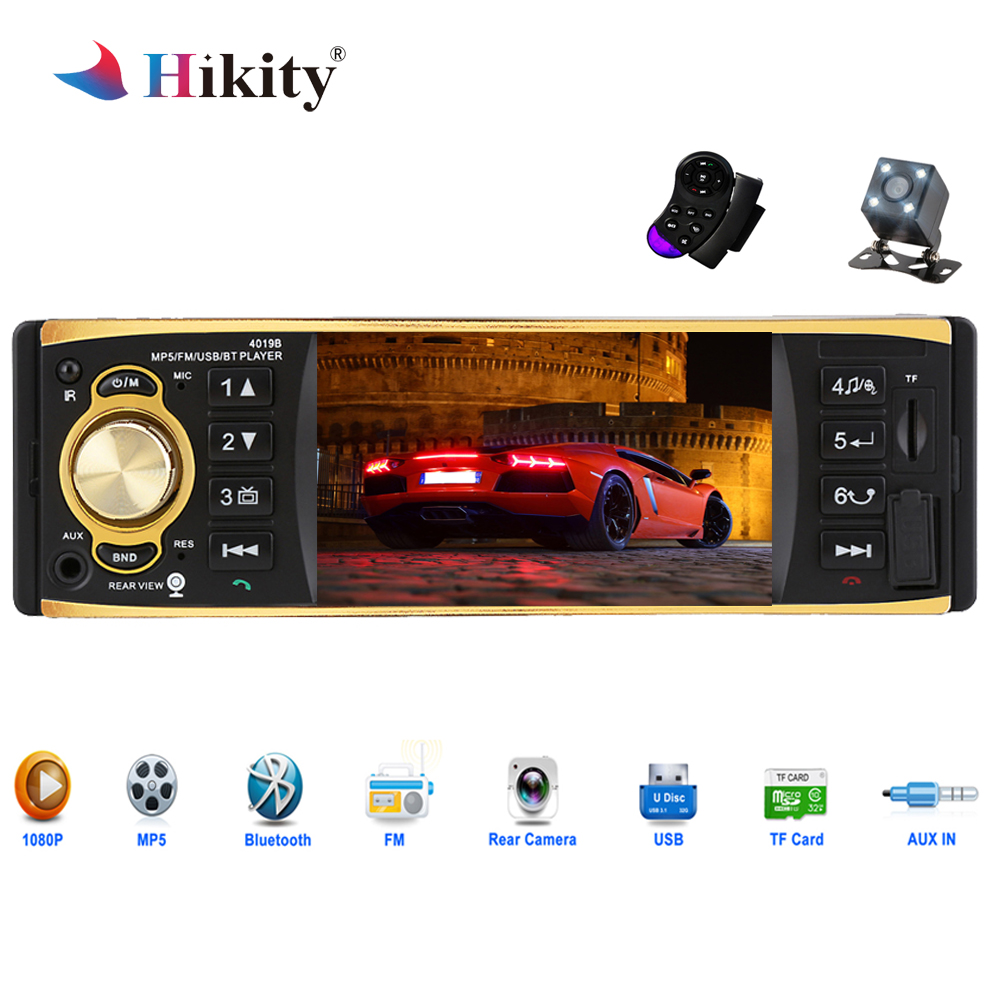Hikity 1 Din Car Radio 4019B Audio Stereo USB AUX FM Bluetooth Radio Station MP3 Player with Rearview Camera Remote Control