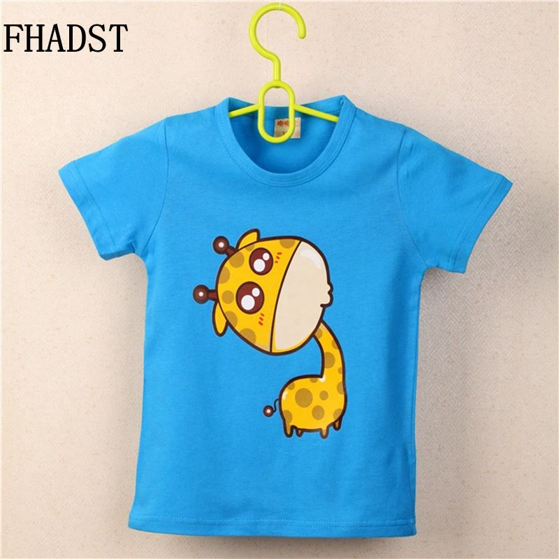 FHADST Summer Fashion Baby 0-2 year Boys Blue Cool T shirt Short Sleeve 100% Cotton Casual tees Kids Clothes Character Animal
