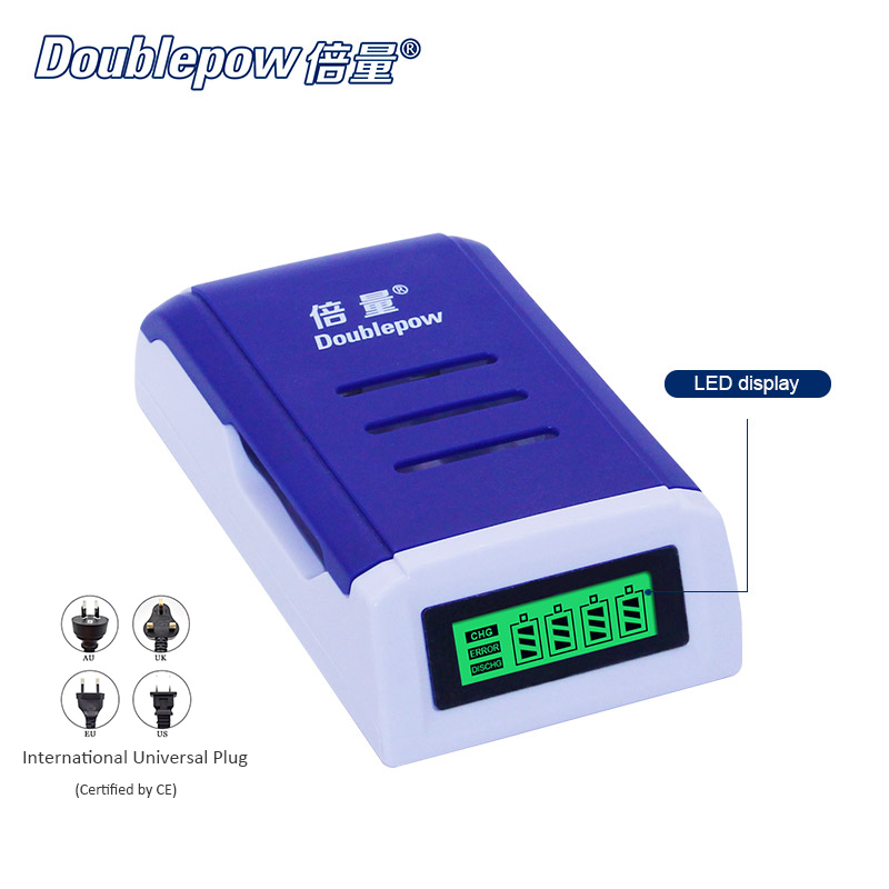 4 slots Doublepow DP-K209 LCD Intelligent Rapid Charger for 1.2V AA/AAA Ni-MH / Ni-CD rechargeable batteries OEM is acceptable fb fb 15 4 x aa aaa battery charger ni mh ni cd batteries white black