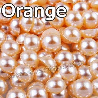Оранжевый Половина круглый шарик Mix Размеры 2 мм 3 мм 4 мм 5 мм 6 мм 8 мм 12 мм имитация ABS плоской задней жемчуг для DIY Дизайн ногтей ювелирных аксессуаров