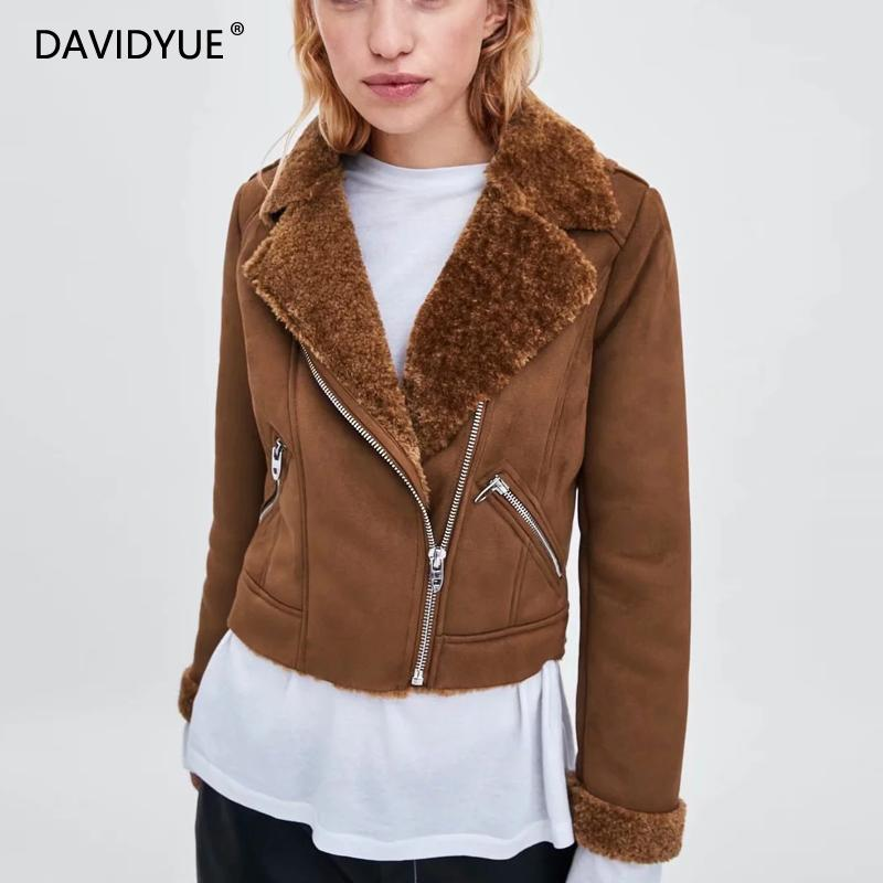 2018 Winter Women   suede   jacket Streetwear Thick Faux   Leather   Fur Coat female Zipper Warm biker jacket abrigo mujer