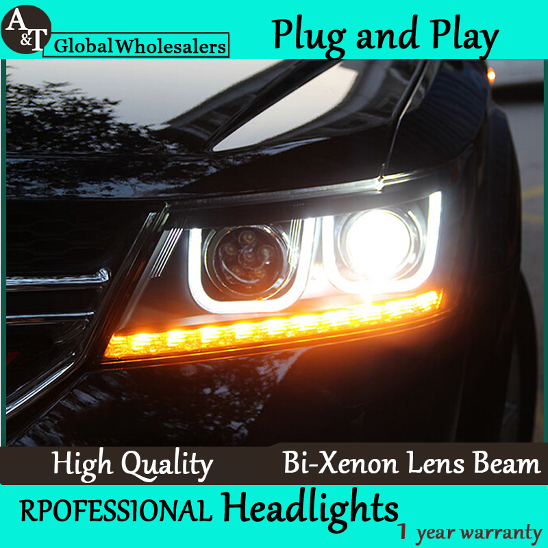 Car Styling for Dodge JCUV LED Headlight 08-15 Journey Headlight assembly Freemont drl Lens Double Beam H7 with hid kit 2pcs. accessories for dodge journey fiat freemont 7seats jc 2010 2017 2015 2016 inner floor mats foot pad car leather carpet kits