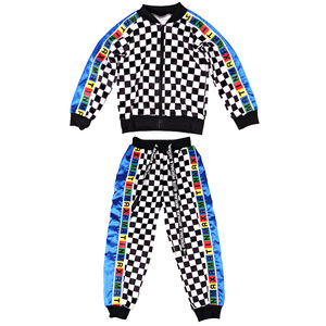 Image 5 - Tide Girls Boys Jazz Dance Costume Set Hip Hop Clothing Plaid Suit Street Dancewear ChildrenS Performance Clothing DL3128