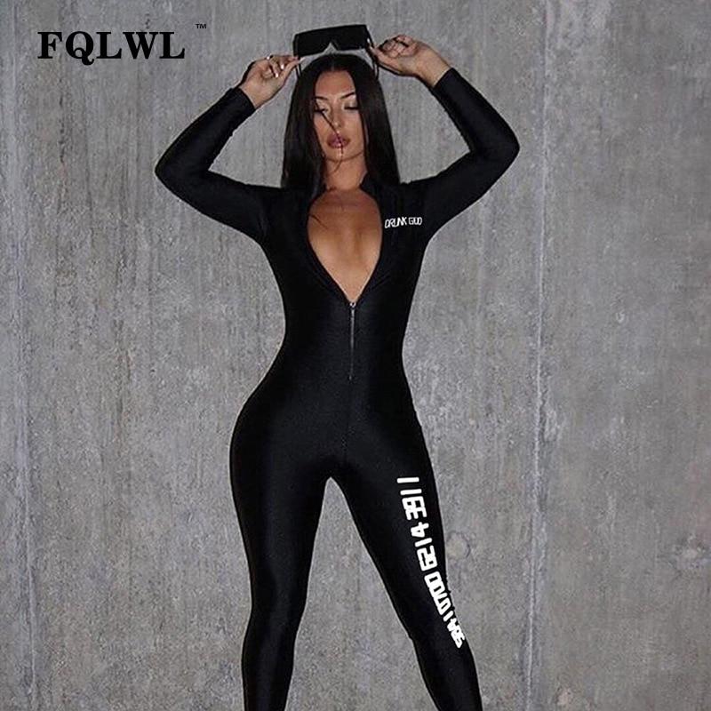 FQLWL Streetwear Zipper Bodycon Black Jumpsuit Women Overall Letter Print Skinny Long Sleeve Sexy Rompers Womens Jumpsuit Female
