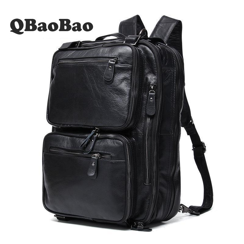 Men Business Casual Backpacks 2 Way Multifunctional Bag Genuine Leather Mens Fashion Shoulder Bags Vintage Boys Men Backpack