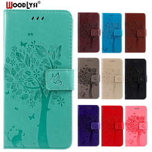 Luxury PU Leather Phone Case For Samsung galaxy J2 CORE SM-J260G 3D Cat Tree Embossed Flip Cover