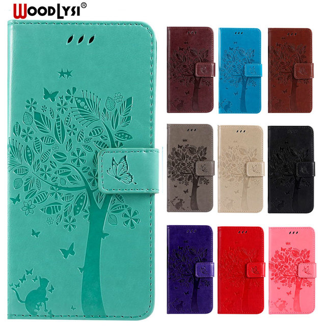 Luxury PU Leather Phone Case For Samsung galaxy J2 CORE SM-J260G 3D Cat Tree Embossed Flip Cover For Samsung galaxy J2 CORE Case