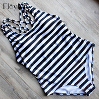 ABOUTTHEFIT High Cut One Piece Bandage Backless Swimwear One Piece Bathsuit Sexy Black White Navy Striped