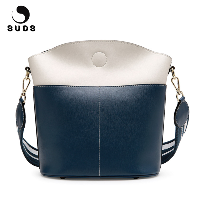 SUDS Brand Women Bag Genuine Leather Bucket Shoulder Bags Female Designer High Quality Traveling Crossbody Bags Bolsa Feminina miwind 2017 new women handbag pu leather female bags fashion shoulder bag high quality 6 piece set designer brand bolsa feminina
