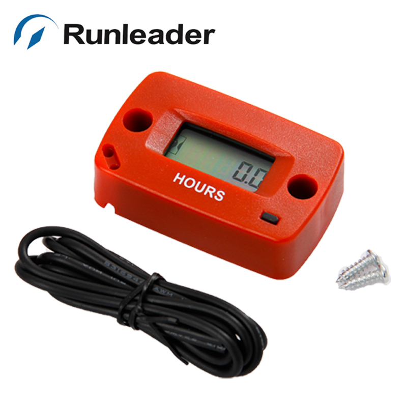 Free shipping hot sell Gas Engine red Hour Meter for motocross motorcycle marine ATV chainsaw JET SKI jet boat mower