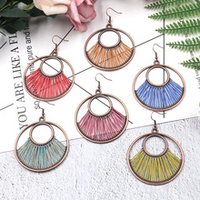 New type of earrings in 2019 European and American pop fashion creative Circle Earrings Bohemian hand-woven exaggeration