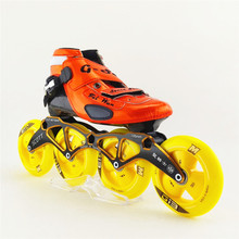 Speed Skates China Genuine Brand Inline Speed Skating Shoes Orange And Yellow 4 Wheels Patines Roller