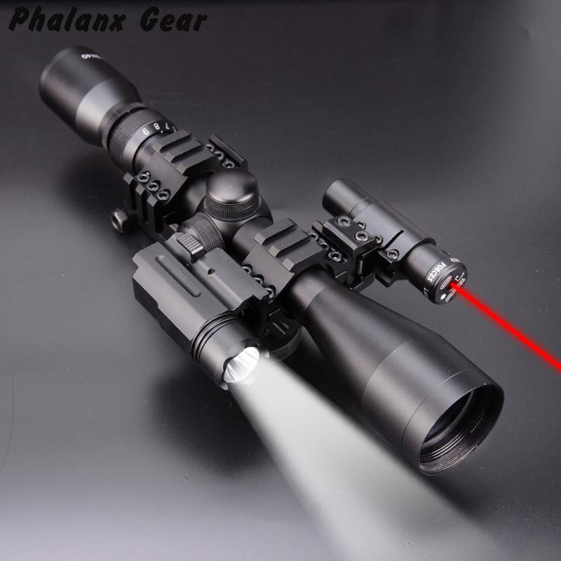 4 In 1 NEW 3-9x40 Hunting Scope Optics + 3 Side Rail Mounts 800 Tactical Flashlight + Tactical Red Dot Laser Sights