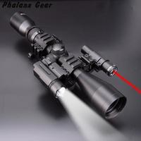 4 in 1 NEW 3 9x40 Hunting Scope Optics + 3 Side Rail Mounts 800 Tactical Flashlight + Tactical Red Dot Laser Sights