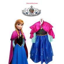 Hot Children Cloth Dress Kids Party Vestidos Cosplay Baby Elsa Girls Princess Dresses Summer Anna Cosplay Dresses + Free Crown