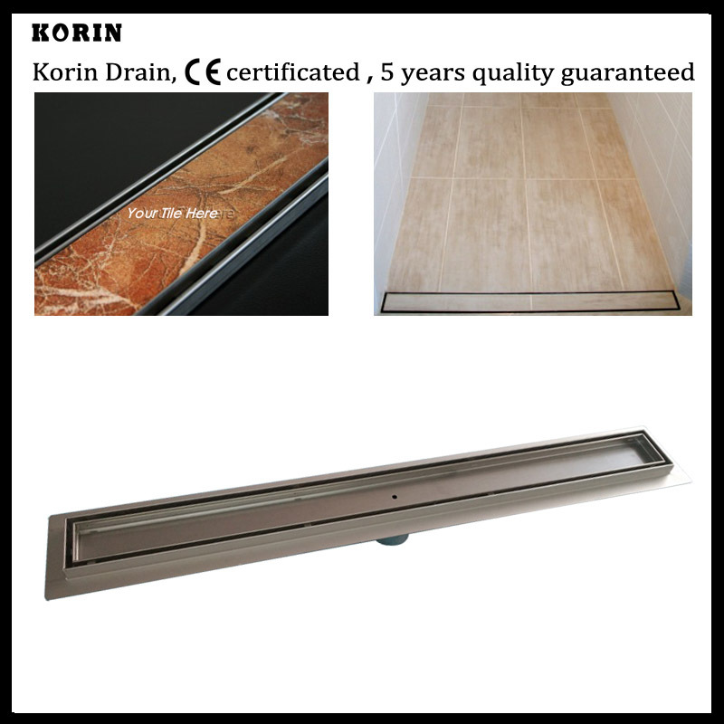 1200mm Tile Style Stainless Steel 304 Linear Shower Drain, Vertical Shower Drain with flange, long floor drain